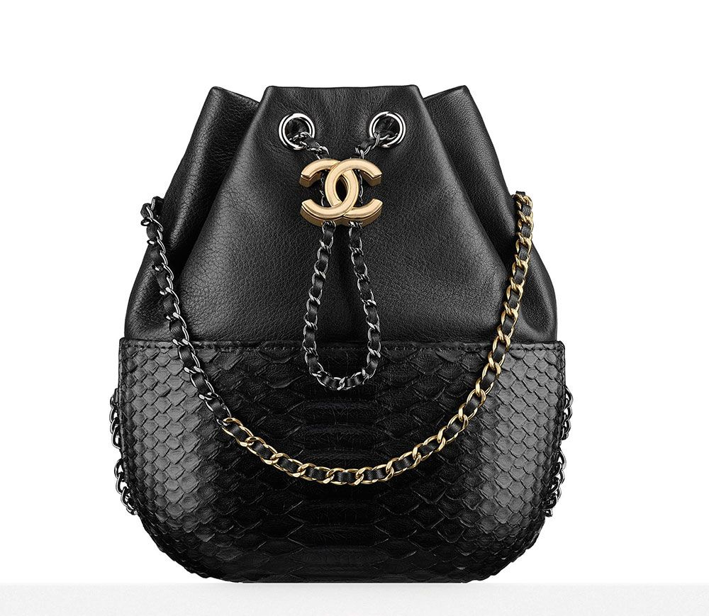 Chanel-Gabrielle-Purse-Black-Python-4200