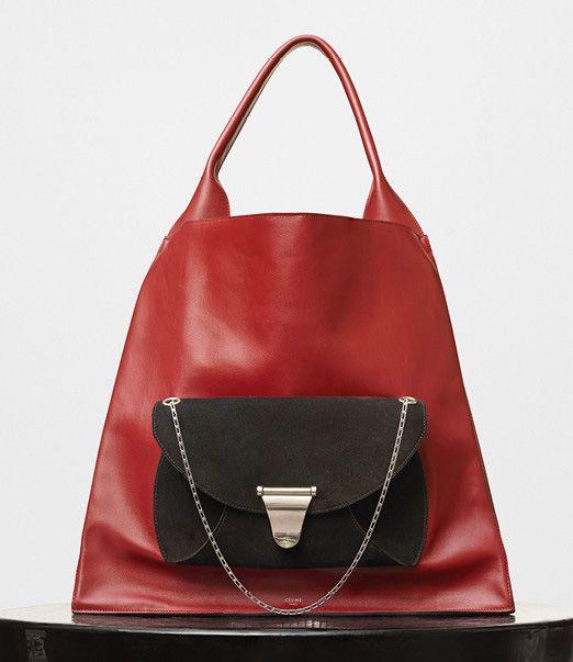 Celine-Medium Shopper Shoulder Bag with Pocket-Red-3750$