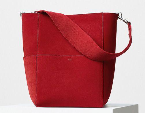 Celine-Seas Sangle Bag-Red Suede-2350$