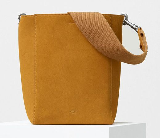 Celine-Small Sangle Shoulder Bag-Suede-Yellow-1850$