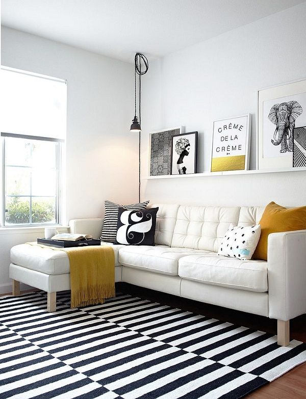 Black-and-white-living-room-with-elegant-pops-of-yellow