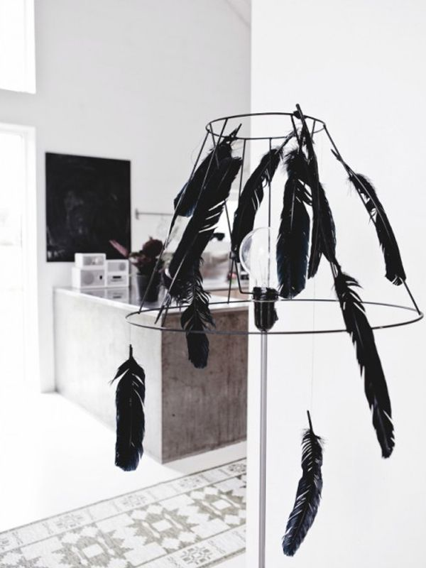 Hanging-lamp-with-black-feather
